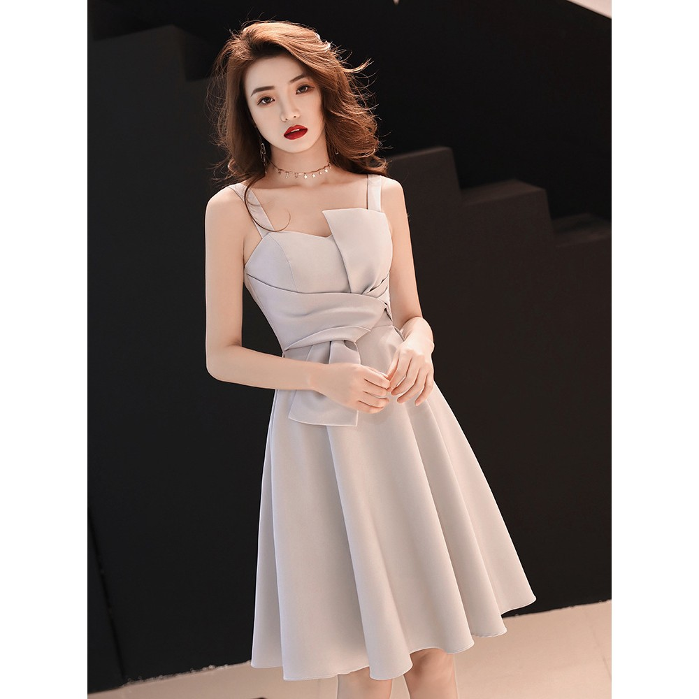 灰色 吊帶 晚會 禮服 女 派對 聚會 短款 氣質 顯瘦 優雅 洋裝