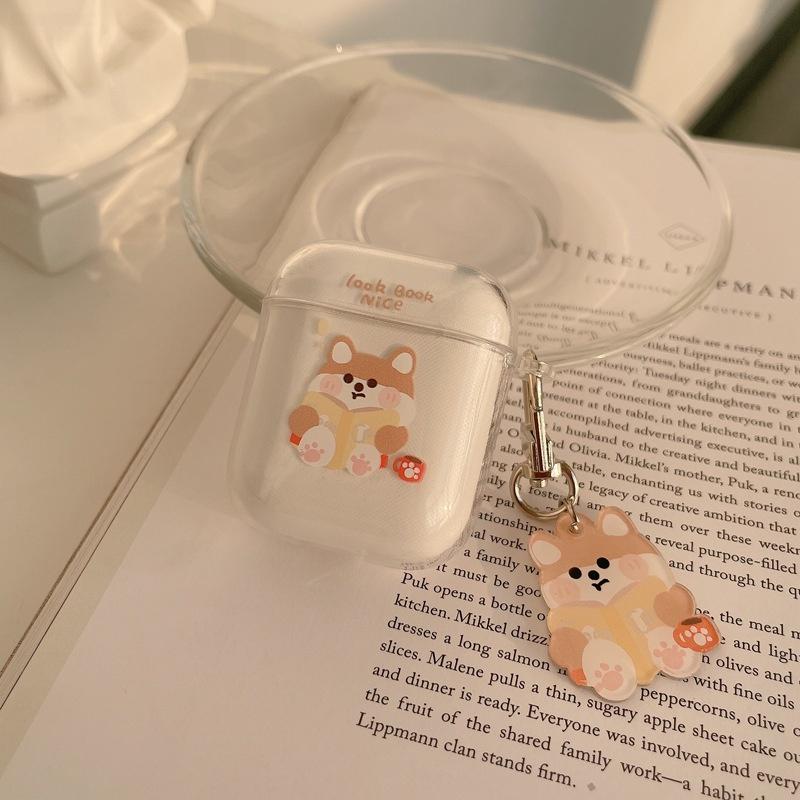 1/2代保護套硅膠軟殼pro3代透明女男女同款卡通可愛柴犬AirPods適用蘋果藍牙耳機