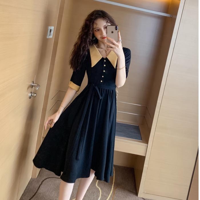 洋裝【S-XL現貨】正韓洋裝專櫃品質 實拍 夏季 新款 韓版氣質egg法式桔梗初戀裙可前後兩穿連衣裙