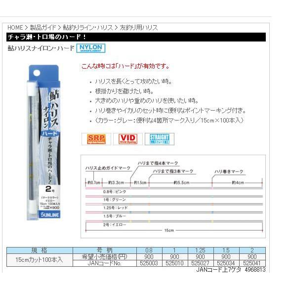 五豐釣具-SUNLINE 鮎用三.四本錨ハリスナイロン・ハード(尼龍線) 250元