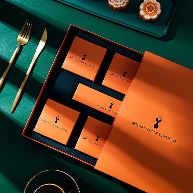 💘月餅盒月餅包裝盒禮盒愛馬仕兔子禮品包裝盒80g6粒裝高檔手提套裝空盒子蛋黃酥盒
