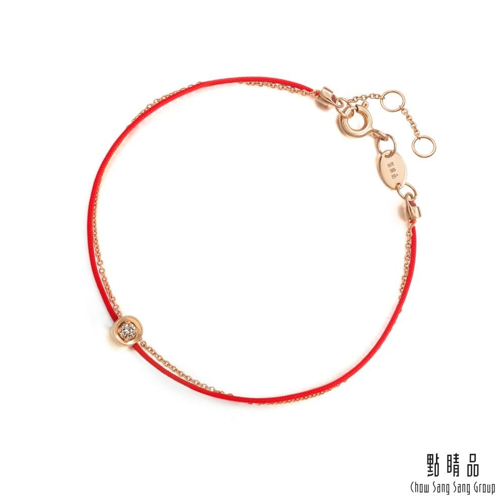 點睛品 Wrist Play 同心 18K玫瑰金咖啡鑽紅繩手鏈
