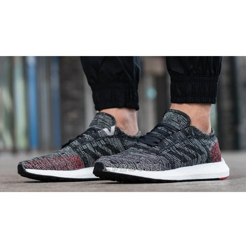 【賓工廠】Adidas PureBOOST GO 彭于晏 灰紅色 編織 愛迪達 慢跑鞋 透氣 AH2323