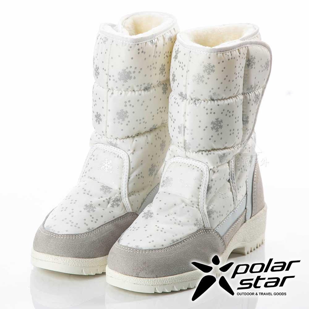 【PolarStar】女雪花保暖雪鞋『灰』P18632 (冰爪 / 內厚鋪毛 /防滑鞋底)