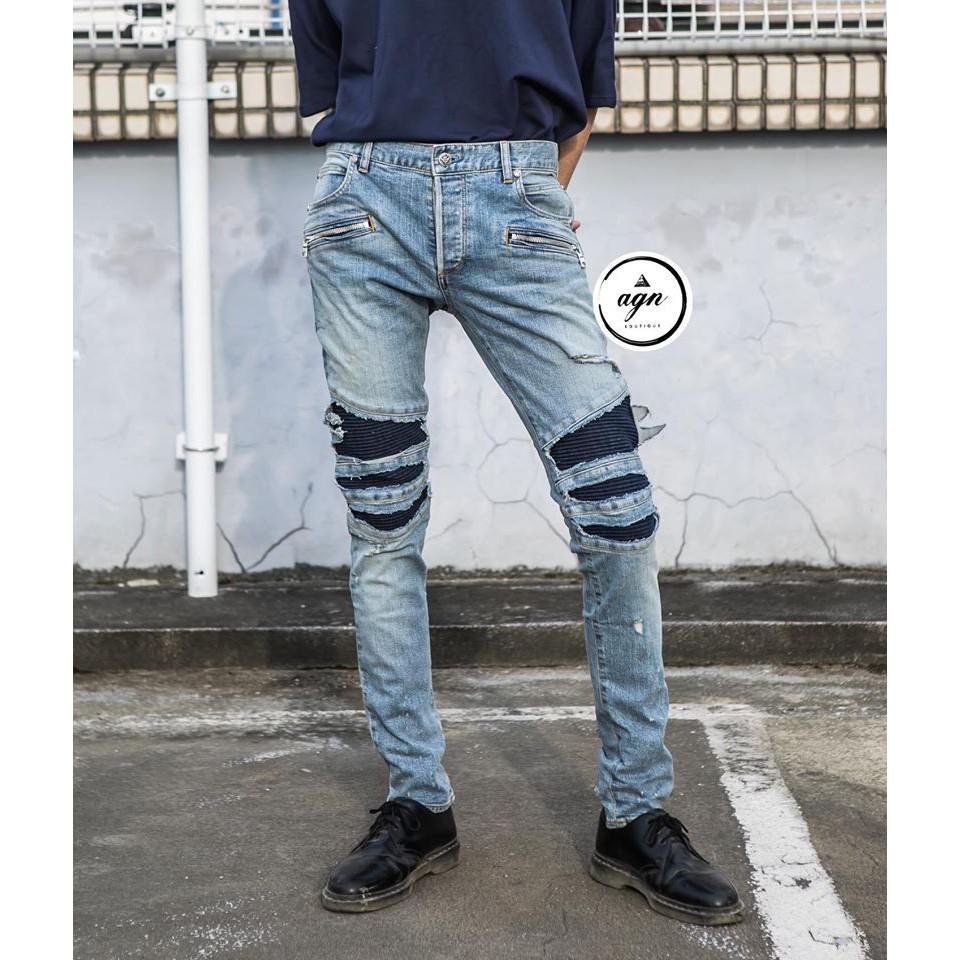 2020新品現貨!!BALMAIN巴爾曼 機車褲+刷破藍+淺藍牛仔褲 修身款!