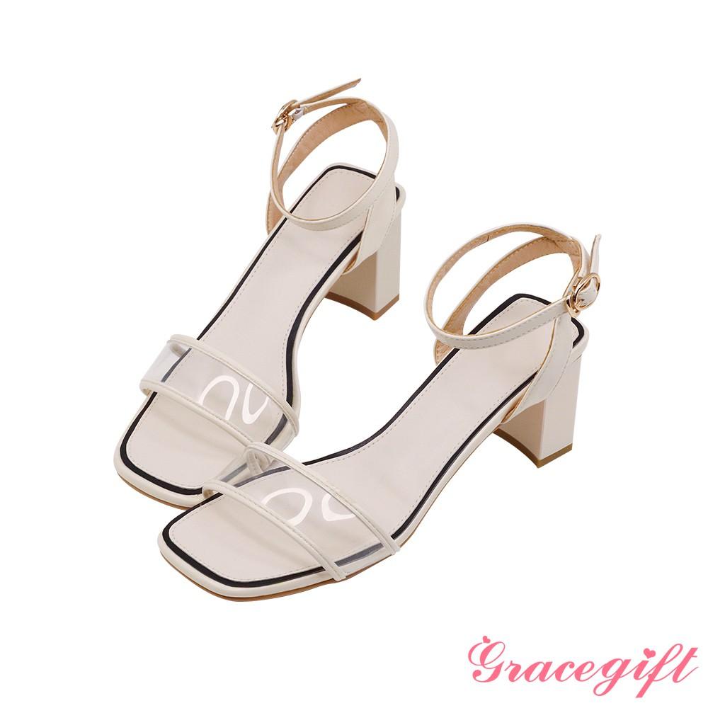 Grace gift-透明寬帶粗高跟涼鞋