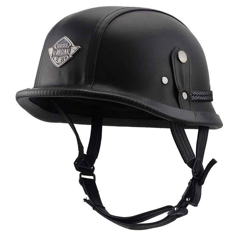 免運/頭盔安全帽VOSS電動摩托車頭灰男復古半盔二戰ABS四季迷彩皮革盔機帽四季
