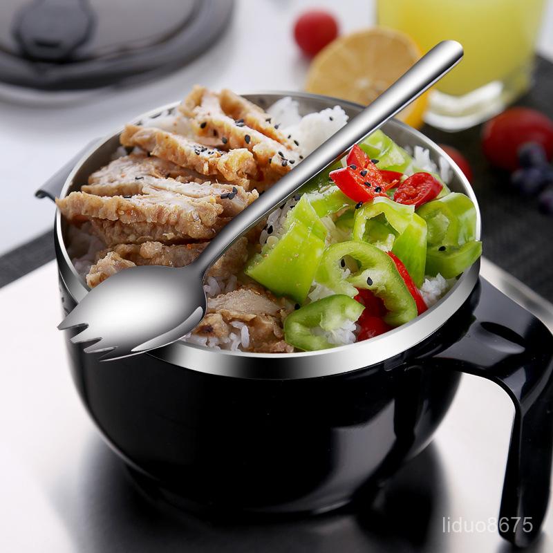 304不銹鋼泡面碗日式帶蓋宿舍學生用碗套裝方便面快餐杯韓式創意