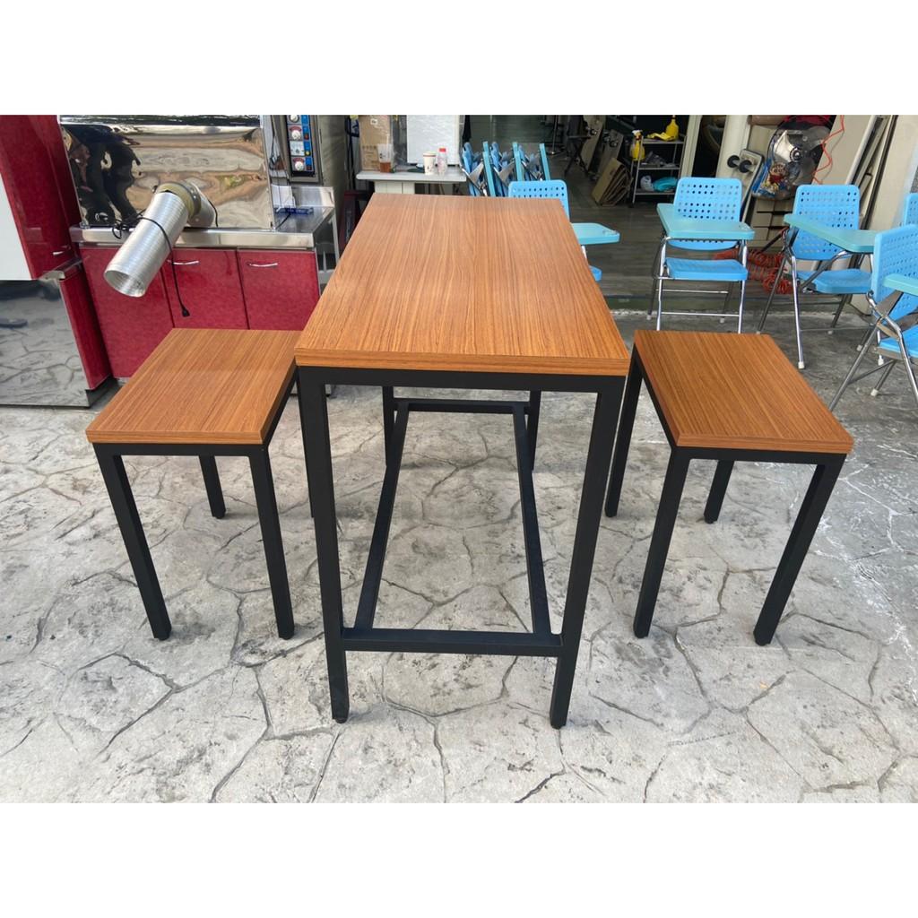 吉田二手傢俱❤實木工業風高腳桌椅組 餐桌椅組 咖啡桌 飯桌 會客桌 實木桌 實木椅 高腳桌 高腳椅 咖啡椅 1桌2椅