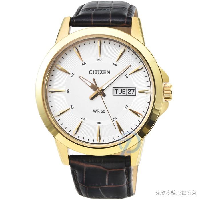 【CITIZEN】星辰簡約風格石英皮帶錶-金框白面 / BF2018-01A