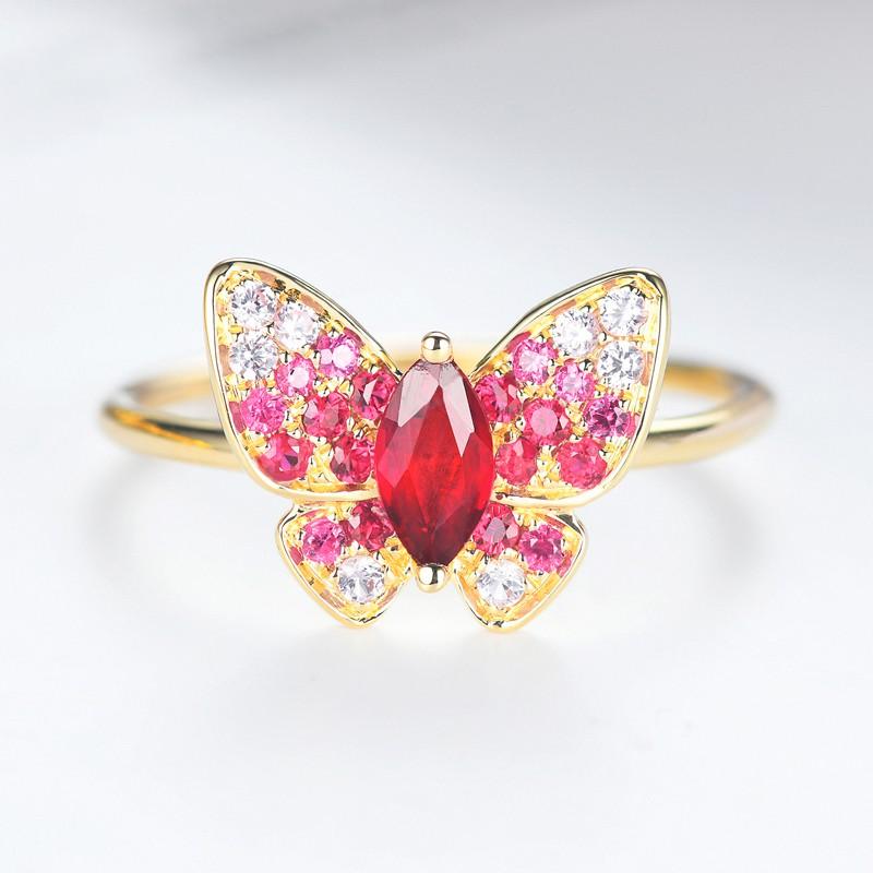 【巧品珠寶】18K 紅寶石蝴蝶戒指