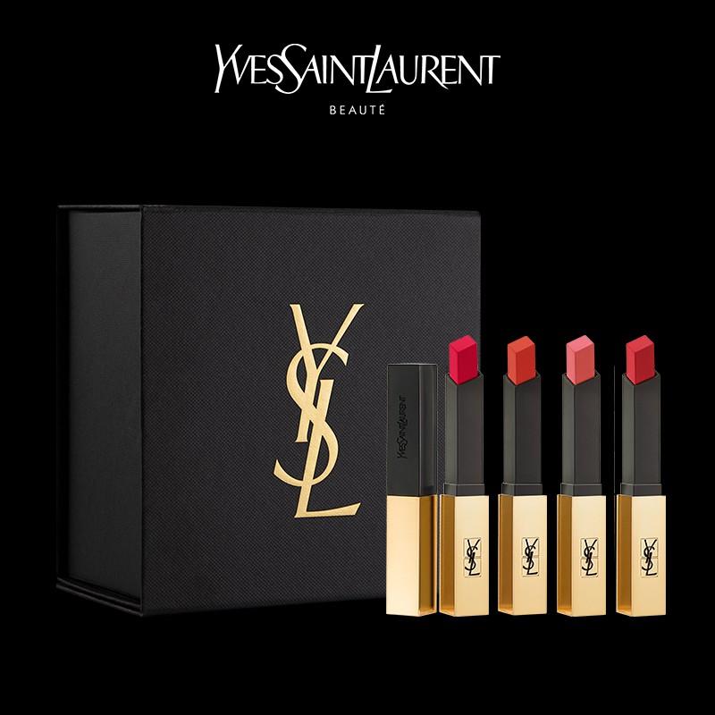ˇ下殺ˇ【YSL禮盒】YSL圣羅蘭經典4支口紅套裝小金條 方管熱賣色口紅禮盒