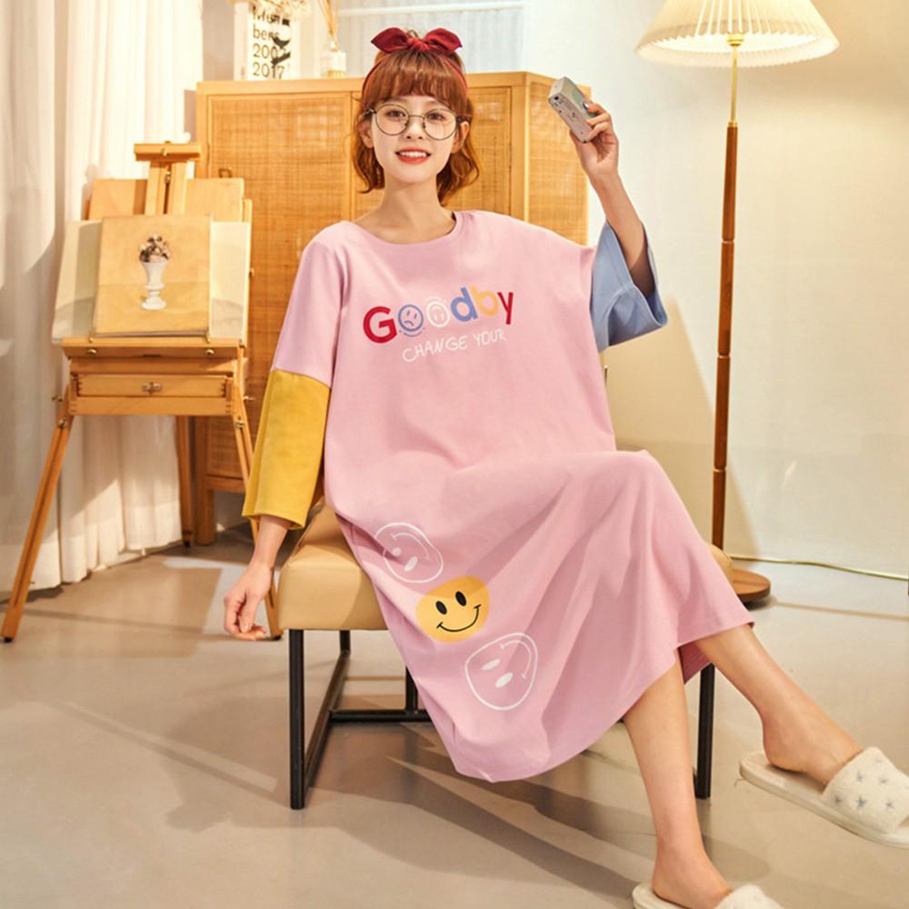 【Wonderland】元氣滿滿100%棉寬鬆大碼睡裙