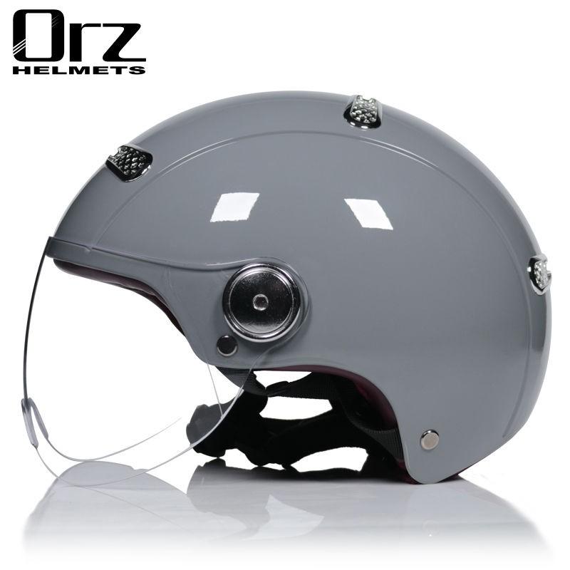 現貨免運~機車安全帽 ORZ電動頭盔女男冬季半盔電瓶車可愛頭灰盔四季流行水泥灰