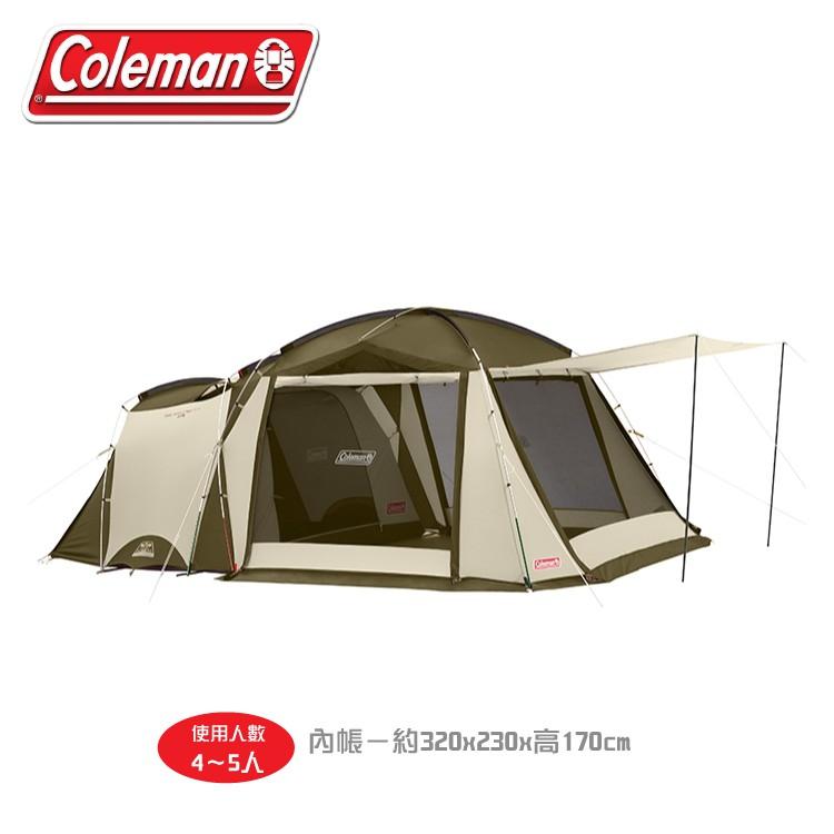 【Coleman 美國 綠橄欖版 Tough sceeen 2-room 露營4-5人帳篷】33800/一房一/悠遊山水