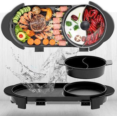 110V鴛鴦火鍋燒烤涮一體不粘鍋多功能家用電烤爐盤韓式燒烤鍋無煙