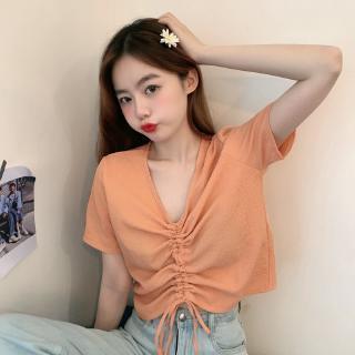 8220#实拍 100%聚酯纤维 宽松短款v领短袖T恤女褶皱紫色抽绳上衣