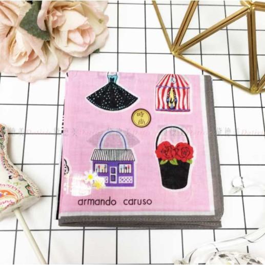 日本製 armando caruso 花籃 紅唇 扇子 小方巾 領巾 優雅 純棉 親膚 日本手帕
