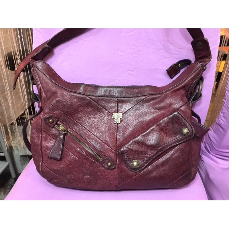 ANNA SUI 專櫃真皮二手斜肩包 皮包 側背包 經典鐵鏽紅