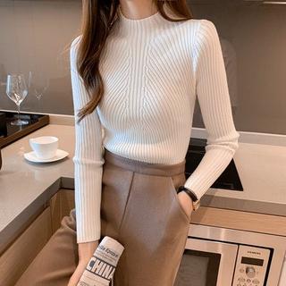 針織毛線衫 彈力 內搭衣 保暖發熱螺紋針織上衣 秋冬新款高領毛衣女內搭洋氣長袖套頭針織衫修身顯瘦打底上衣