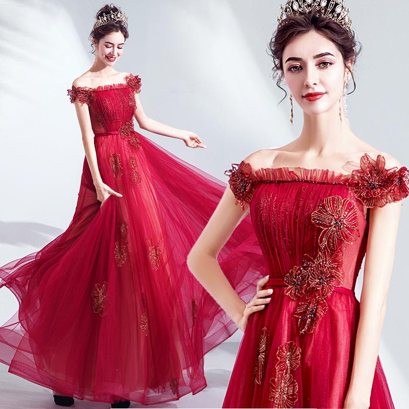 2021新款現貨 名媛感 時髦紅色新娘結婚敬酒服婚禮婚紗晚禮服批發237