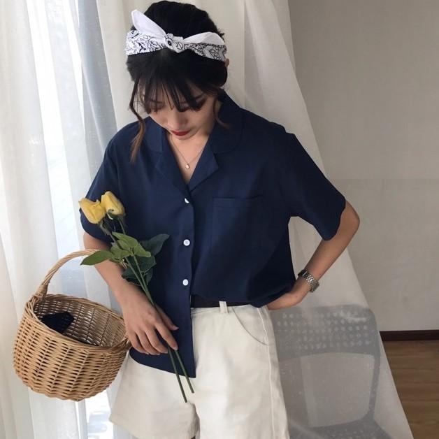 [現貨] 韓版chic短袖襯衫 西裝領 襯衫上衣女 寬鬆襯衫 顯瘦百搭上衣 韓系襯衫 開衫素色女生衣著 閨蜜裝