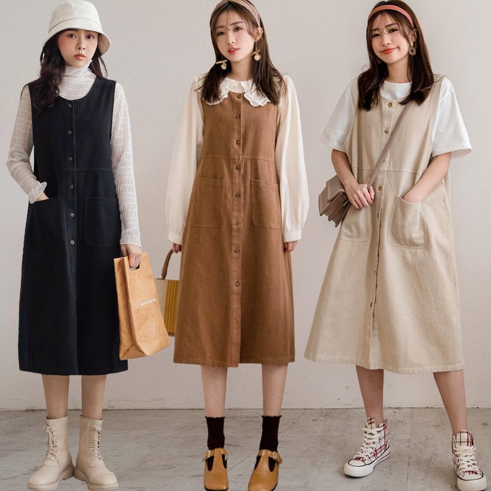 MIUSTAR 森林系排釦方形大口袋斜紋布背心洋裝(共3色)洋裝 0126 預購【NJ0319】