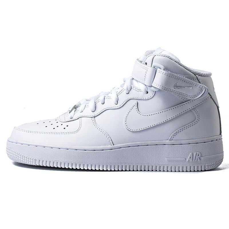 NIKE WMNS AIR FORCE 1 MID 黏扣帶 中筒 魔鬼氈 366731-100 全白 女鞋