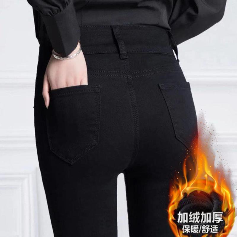 緊身學生韓版高腰加絨牛仔褲女秋冬九分小腳褲打底黑色顯瘦鉛筆褲