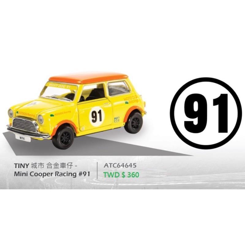 TINY  1/64 #91號。MINI COOPER RACING 黃色
