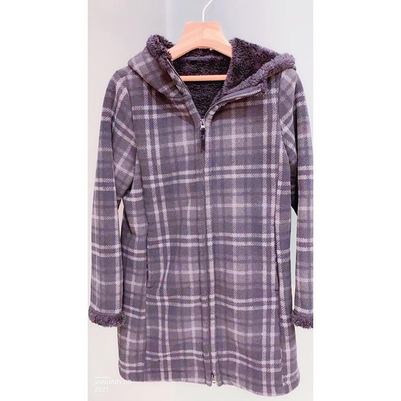 UNIQLO優衣庫 毛絨連帽外套法蘭絨現貨長版毛絨大衣🧥尺寸M黑色外套上衣日本🇯🇵購回ユニクロ大衣外套厚外套二面可穿刷毛