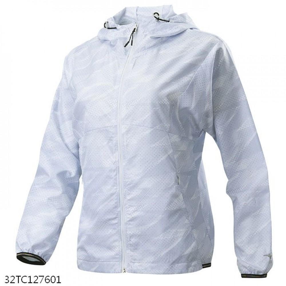 MIZUNO 女裝 外套 連帽 套裝 平織 抗紫外線 網布內裡 拉鍊口袋 白【運動世界】32TC127601