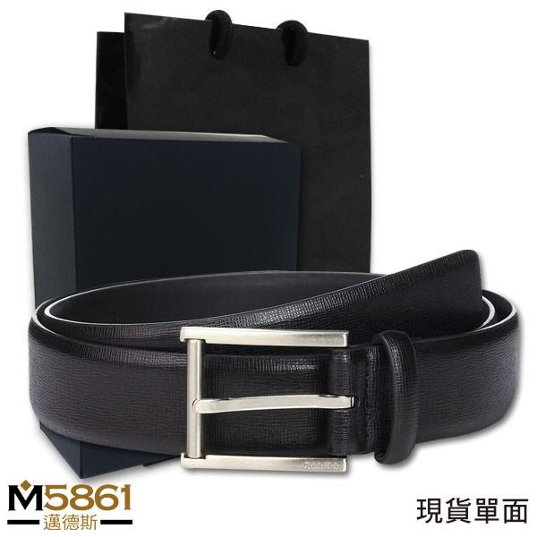 【CK】Calvin Klein 皮帶 單面 格紋皮革 銀扣頭/黑色