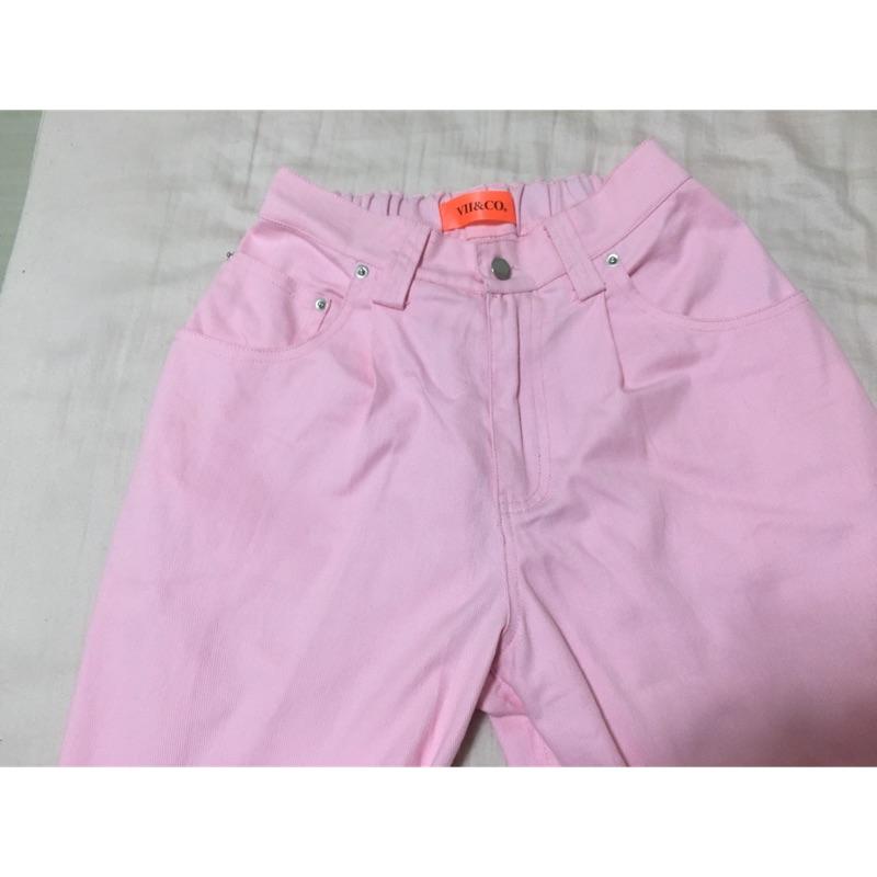 Vii&Co 粉色牛仔寬褲