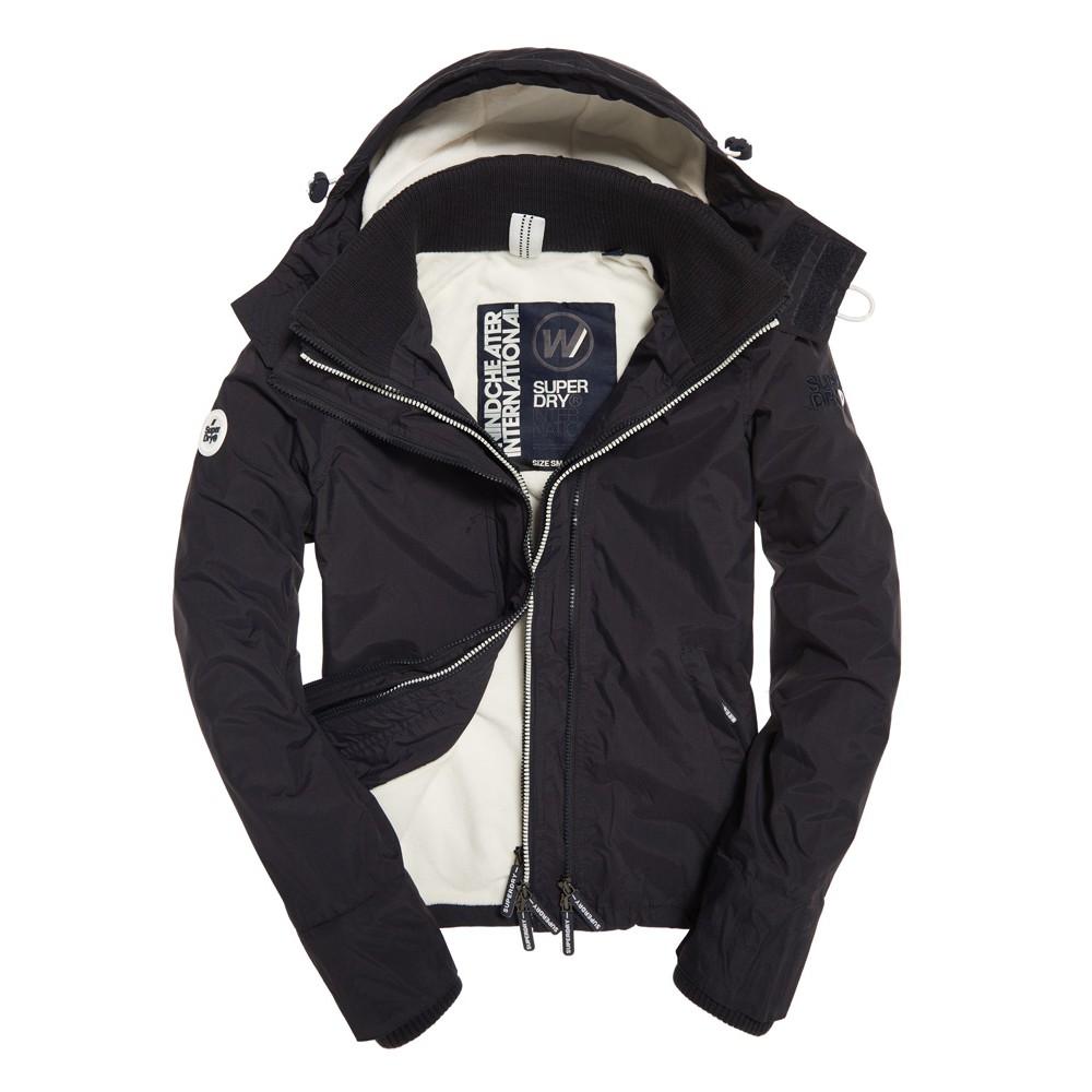 官網真品大出清!女款.急暖瞬熱 SUPERDRY 極度乾燥 經典三層拉鍊 保暖絨面 連帽風衣外套.經典黑色/白字