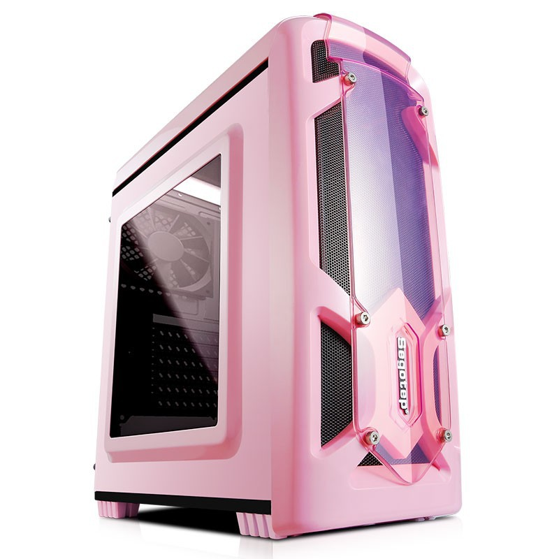 📣爆款免運 電腦主機殼 鑫谷極光刃粉色機箱 女生電競台式 電腦機殼 遊戲側透支持 M-ATX主板