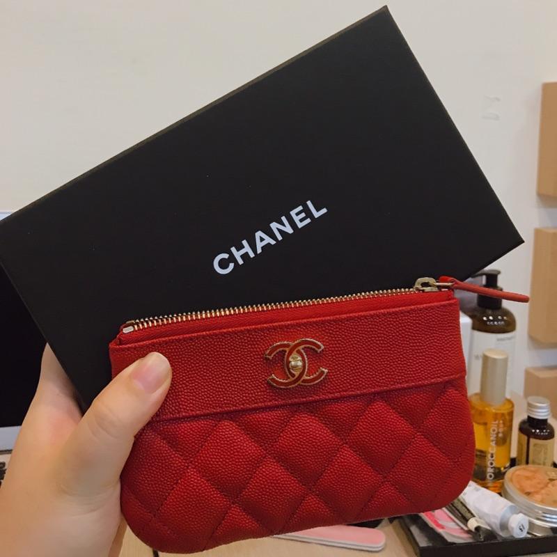 Chanel pouch 紅色拉鍊零錢包
