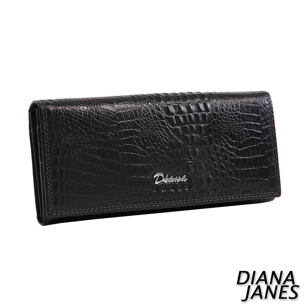 Diana Janes 鱷魚紋多用長夾-黑