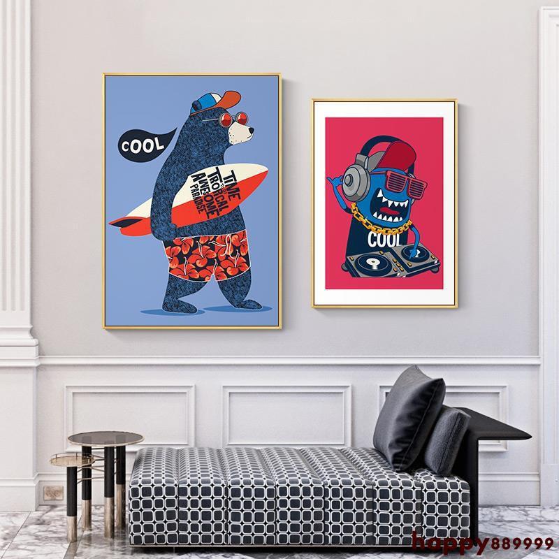 壁畫 掛畫 裝飾畫 現代美式 居家裝飾 現代簡約兒童床頭畫臥室 男孩北歐卡通人物女孩房間溫馨創意壁畫全店免運