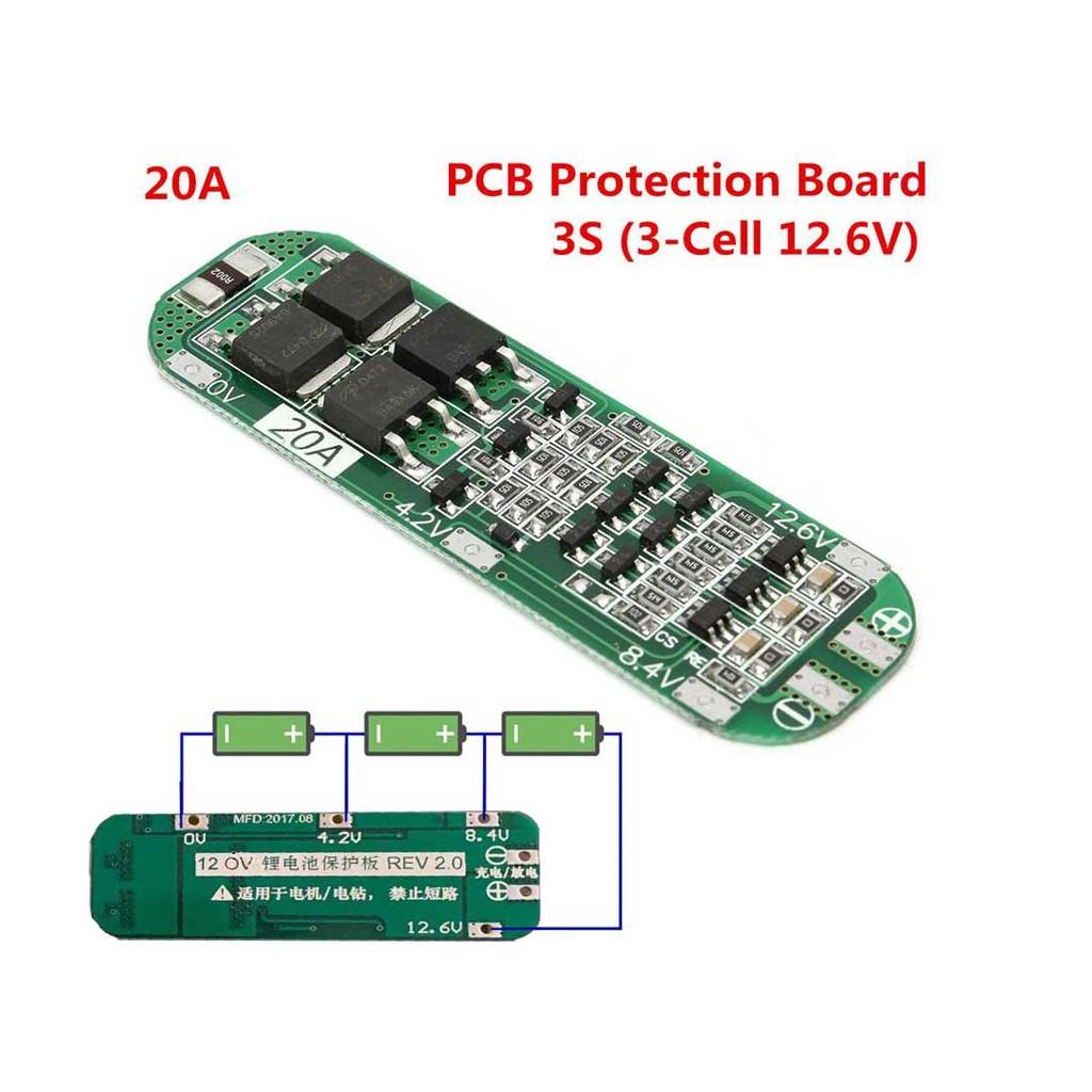 3串11.1V 12V 12.6V 18650 鋰電池保護板 可啟動電鑽 20A電流