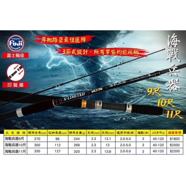 【版主釣具】海力士 EVO 海戰兵器 300MH 路亞 三節式 岸拋竿