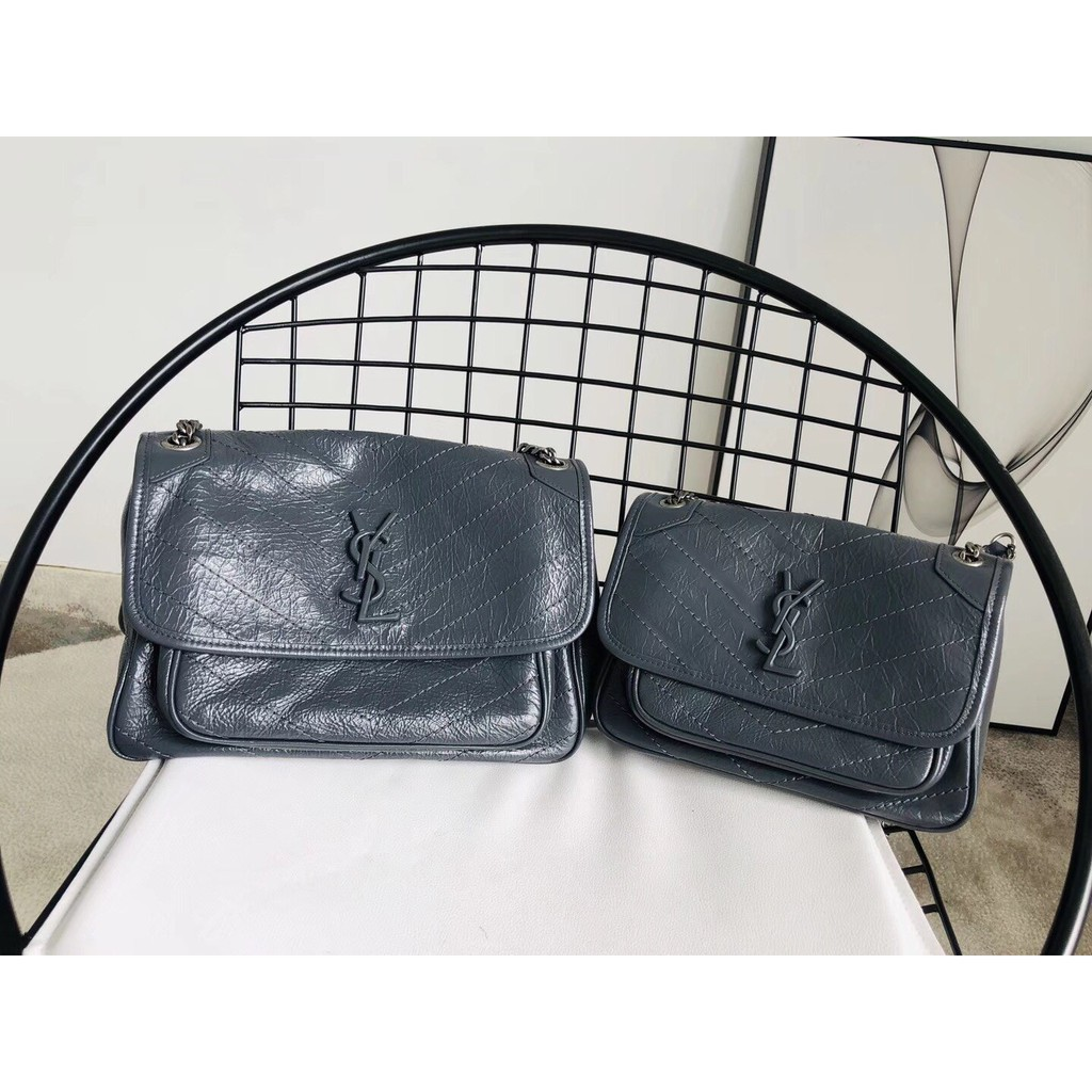 YVES SAINT LAURENT 聖羅蘭 YSL 女生包包 單肩包 斜挎包 niki 抓皺款藍灰 斜背包 現貨爆款