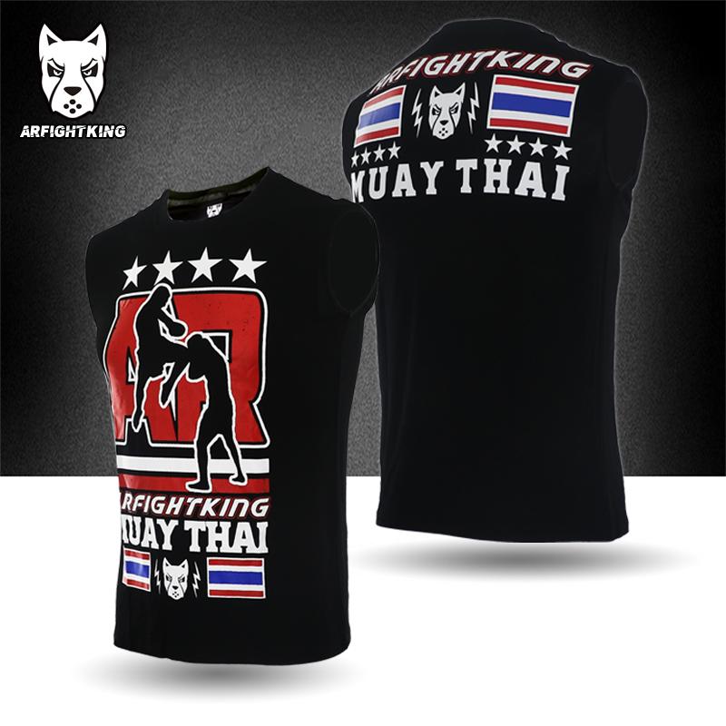 ARFIGHTKING泰拳無袖彈力運動搏擊MMA綜合格鬥柔術UFC拳擊武林風