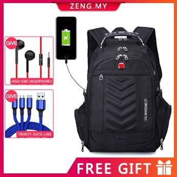 男士Swiss Gear多功能旅行背包21英寸USB商務電腦包旅行背包書包