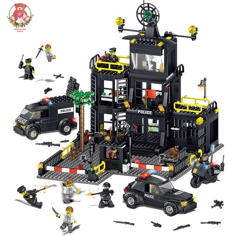 【怡樂】現貨【城市警察系列】積奇樂42017機變特警察局大樓警車小顆粒益智力兒童拼裝積木玩具兼容樂高