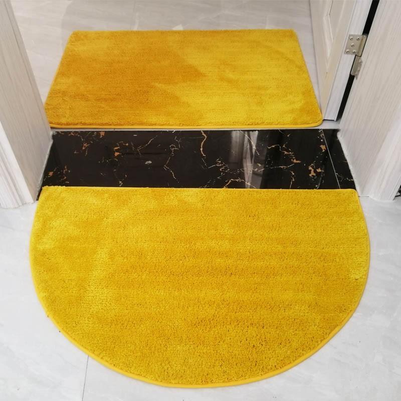 【全館免運】現代簡約金黃色半圓形門口進門地墊門墊浴室吸水地毯臥室防滑腳墊