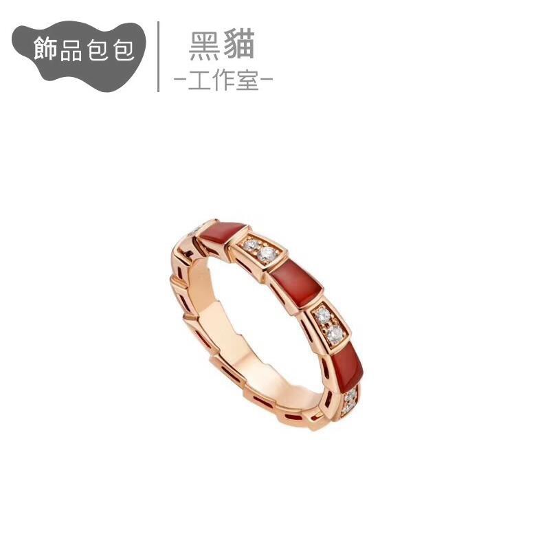 【黑貓工作室】經典款 寶家BV蛇骨戒指 925純銀 鑲鉆間紅玉髓女指環 窄