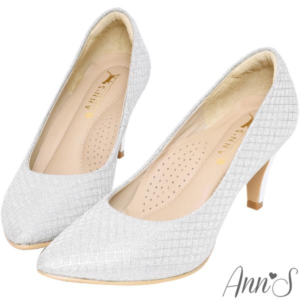 Ann'S浪漫真諦-耀眼菱格紋電鍍鞋跟氣墊尖頭跟鞋7.5cm-銀