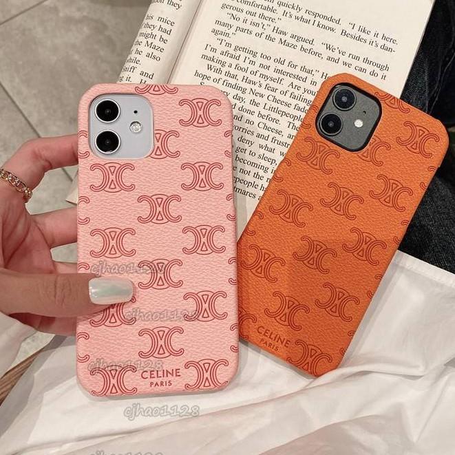 欧美大牌赛琳celine適用iphone 12 11 pro 手機殼 蘋果i12 XS XR 8Plus 手機殼凹凸皮質