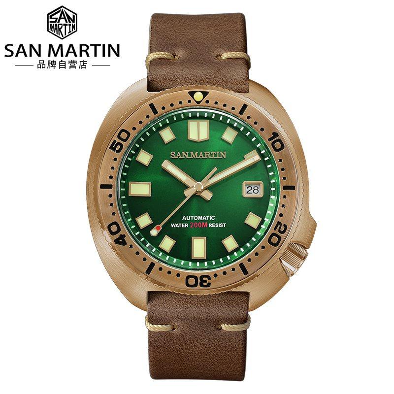 SAN MARTIN腕錶軍魂定製錶青銅潛水錶機械錶6105鮑魚手錶男SN047